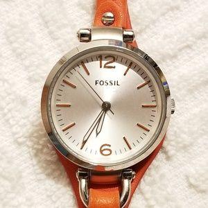Fossil Silver Tone Watch Orange Leather Strap